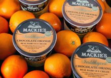 Tubs of Mackie's Chocolate Orange ice cream by our Scottish PR Company
