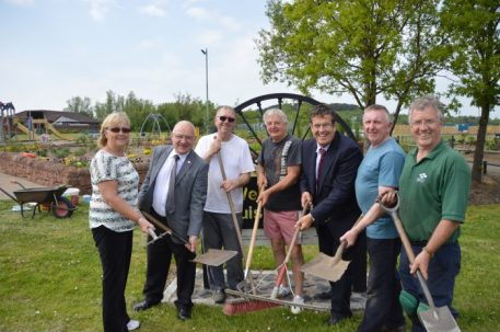 Image of Banks Group Community funded garden and key figures. Pictured; Mark Dowdall, Vic, Cllr David Dodds, Tommy McCafferty, Betty Currie, Ian Currie and Alan Cunningham