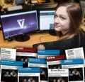 Coverage montage overlayed on image of female computer hacker. Scottish PR Agency grab great coverage for SBRC