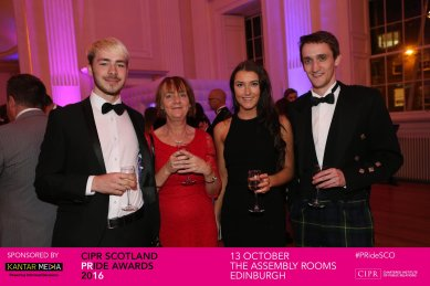 Holyrood PR staff celebrate success at the 2016 Chartered Institute of PR Awards ceremony