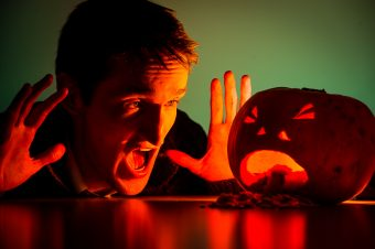 A scary pumpkin lantern carved by staff at Scottish public relations agency Holyrood PR