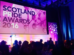 Annual PR award ceremony in Scotland. Photo shows stage and big screen backdrop