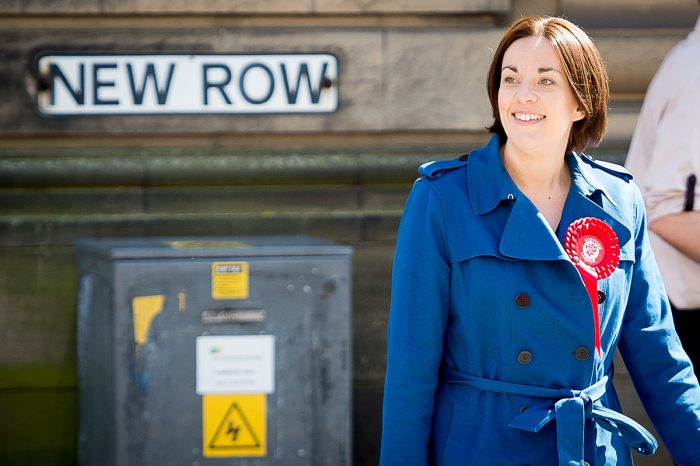 Scottish Labour leader, Kezia Dugdale MSP, campaigning in Dunfermline a couple of days before the Scottish elections in May
