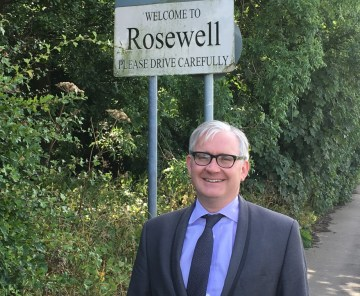 Chris Kelsey at Rosewell as part of Renewables PR campaign