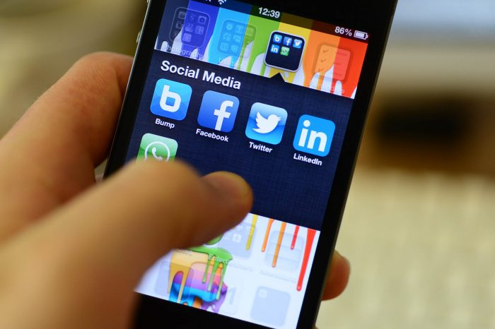 Social Media on Phone for public relations