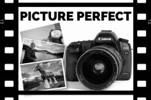 Image of PR Photography banner, camera and two photos in a cinefilm