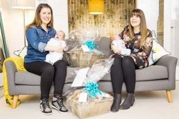PR Photography shows the new mothers, Rosie Considine and Louise Inglis, on the sofa holding their babies.