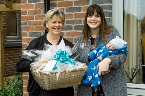 PR Photography shows CALA Homes Sales Advisor, Jenny Thomson and Louise Inglis and her baby Brodie