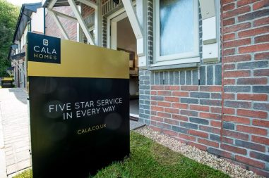 CALA Homes sign at front entrance to Kinleith Showhome as shown by PR Photography