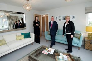 Cala Representatives Jenny Thomson And Kirsty Summers Join Councillor Keith Robson In The Living Room