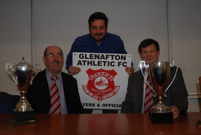 Glenafton FC - Iain Burgoyne Secretary, Banks' Lewis Stokes, Ian Young President Renewables PR