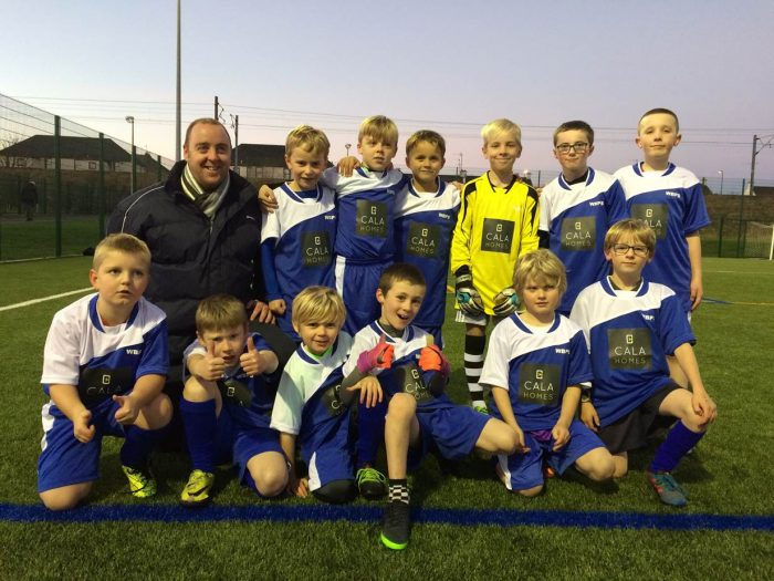 West Barns Primary School Football Team showing off their new CALA Homes sponsored kit, thanks to Edinburgh PR