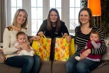 Cala Craigpark newborn babies - Nicola Gillan with baby Esme, CALA Sales Advisor Sharon Landels and Freya McShane with baby Mila for Pr Photography