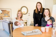 Cala Craigpark newborn babies - Nicola Gillan with baby Esme, CALA Sales Advisor Sharon Landels and Freya McShane with baby Mila for Pr Photography