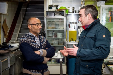 Roddy explains to Farooq how the smart meter can help cut energy costs