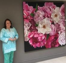 Scottish artist Susie Capaldi with a 2m x 2m artwork
