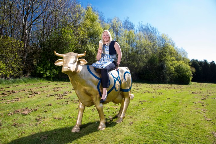 Yvette poses on cow as she searches for new staff for 19.2- Food and Drink PR story