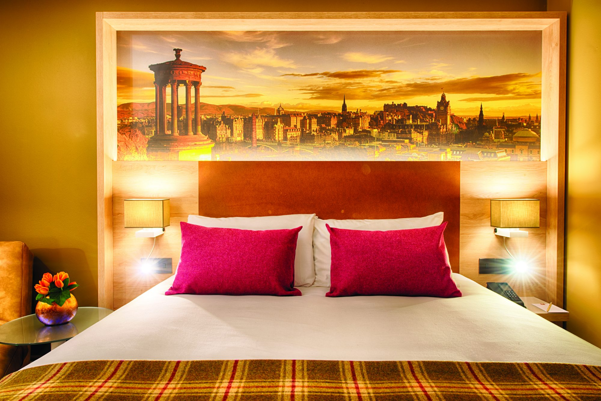 PR photography of a bedroom in the Leonardo Hotel in Edinburgh