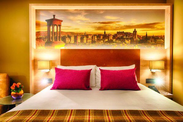PR photography of a bedroom in the Leonardo Hotel in Edinburgh