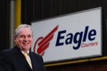 Jerry Stewart with Eagle Logo for PR story