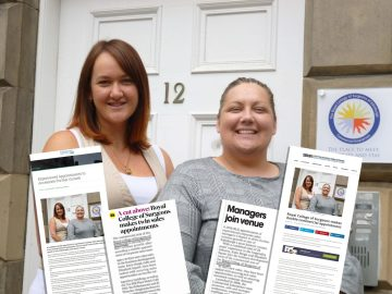 Katie and Elizabeth at RCSEd image with PR Success coverage