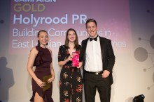 Staff with award winning PR agency Holyrood on stage to collect 2017 CIPR Scotland gold PR award