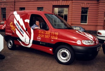 Sarah Boyack in Eagle Electric Vehicle Commercial PR Eagle Couriers Scotland