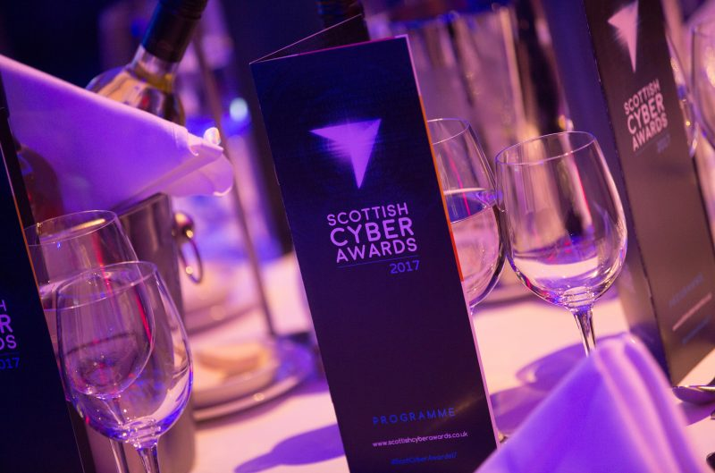 Table setting from Scottish Cyber Awards Tech PR in Scotland