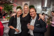Hotel PR photograph of Carole Doull, Kirsty Doull, James Doull captured by Scottish PR agency at Tigerlily refurbishment launch in Edinburgh
