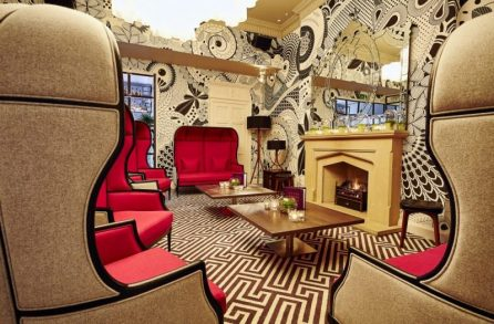 Hotel PR photograph of the romantic Georgian lounge at Tigerlily Edinburgh