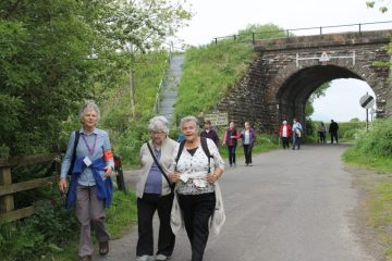 Care PR photograph of Bield tenants on a Health Walk in Stirling organised through Paths for All Charity   Scottish PR