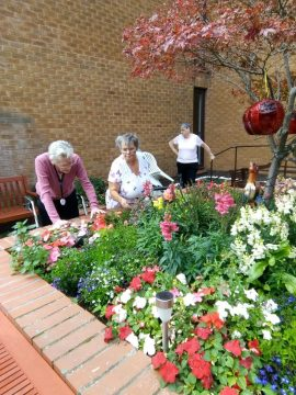 Scottish PR photography of Bield tenants gardening