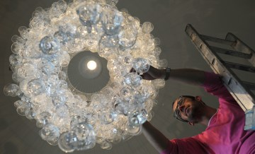 Food and drink PR agency Holyrood PR arranged these photos of a wine glass chandelier at Edinburgh style bar