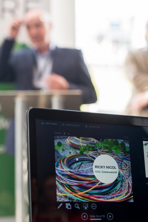 A tech PR photo of a laptop screen, taken at CityFibre and Commsworld launch event