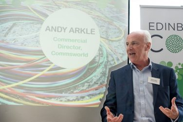 Andy Arkle, Commswolrd Commercial Director, in a tech PR photo at an event in Edinburgh
