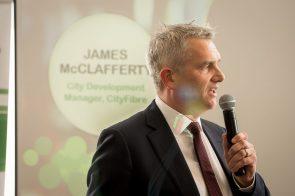 James McClafferty speaking in a tech PR photo