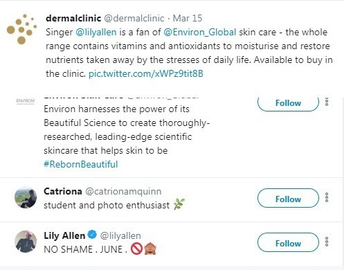 Lily Allen Twitter Interaction with Dermal Clinic plays part in a Hair and Beauty Campaign