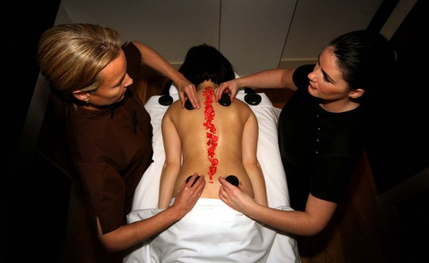 A massage treatment in a hair and beauty PR photo