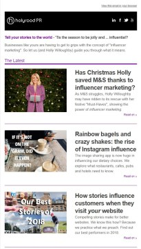 Christmas PR Newsletter focusing on influencer marketing
