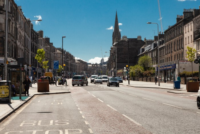 Property PR photograph of Leith Walk in Edinburgh on a sunny day