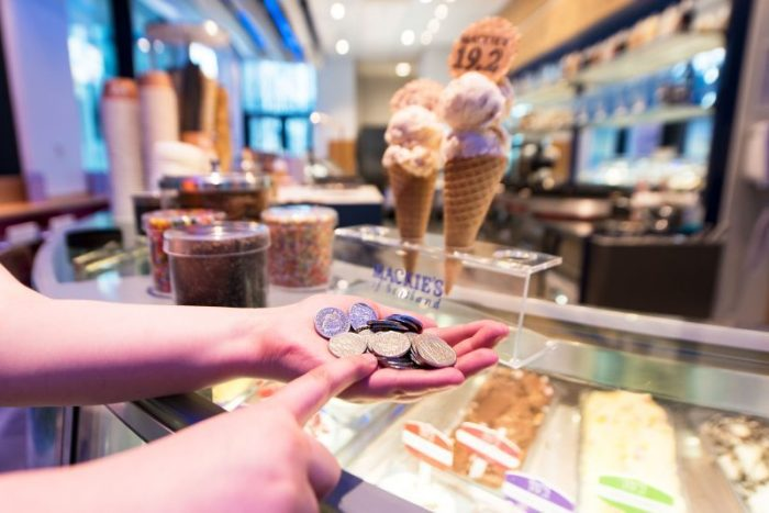 A consumer PR photo taken at Mackie's 19.2 parlour in Aberdeen as part of a competitio to find a rare 10p coin