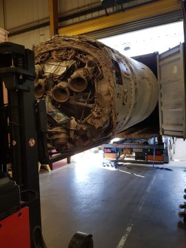 The UK's Black Arrow rocket is shown in a tech PR image as it makes the final stage of its journey from the Australian outback to Penicuik after Edinburgh based rocket developer, Skyrora, brought the rocket home