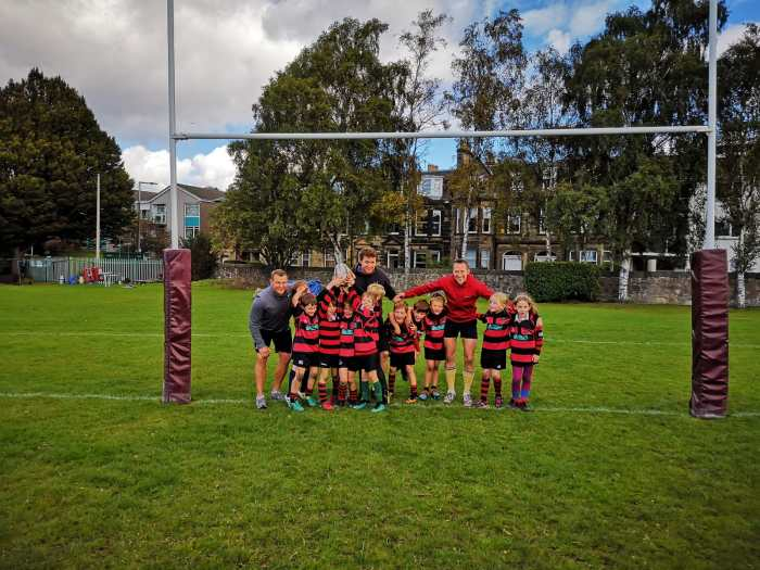 Team photo of NBRFC Minis rugby team who are sponsored by CALA Homes | Property PR