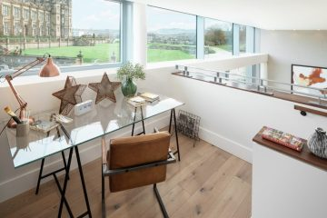 Property PR photograph of study space at CALA Homes The Crescent - a sweeping curve of glass fronted contemporary apartments.