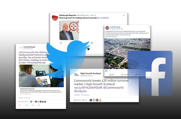 A selection of twitter and facebook shares of Commsworlds record year of success