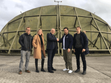 Members of the Skyrora team are pictured in a tech PR image at a new Cornwall testing facility