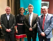 Charity PR photograph of Ian Kerr, Deborah Alsina, Michael Griffin and Scott Mitchell celebrating the joint venture between the Royal College of Surgeons and Bowel Cancer UK.