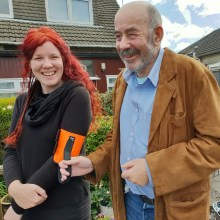 Scottish PR photo of Laura Maclean and Tom Forsyth, using the Rabble Tag which they invented to guide the visually impaired and have entered the design into the Blackwood Design Awards 2019