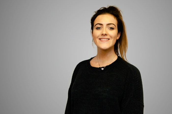 PR photograph of Sinead Donnelly, an intern at a Scottish PR agency, Holyrood PR