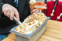 Napoli of Mackie's Haggis and Marmalade Ice cream in a Food and Drink PR photo